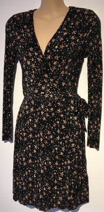 TOPSHOP PLISSE BLACK PINK STAR WRAP TUNIC DRESS SIZES UK 6, 8, 10, 12